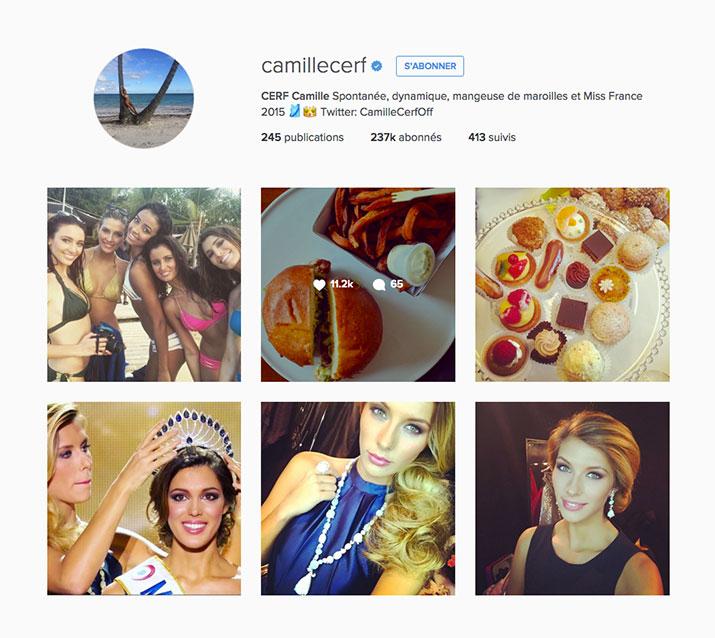 profile instagram de camille cerf