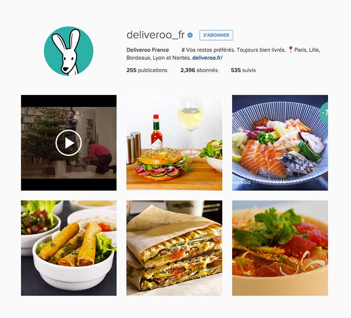 Profile de delivroo instagram